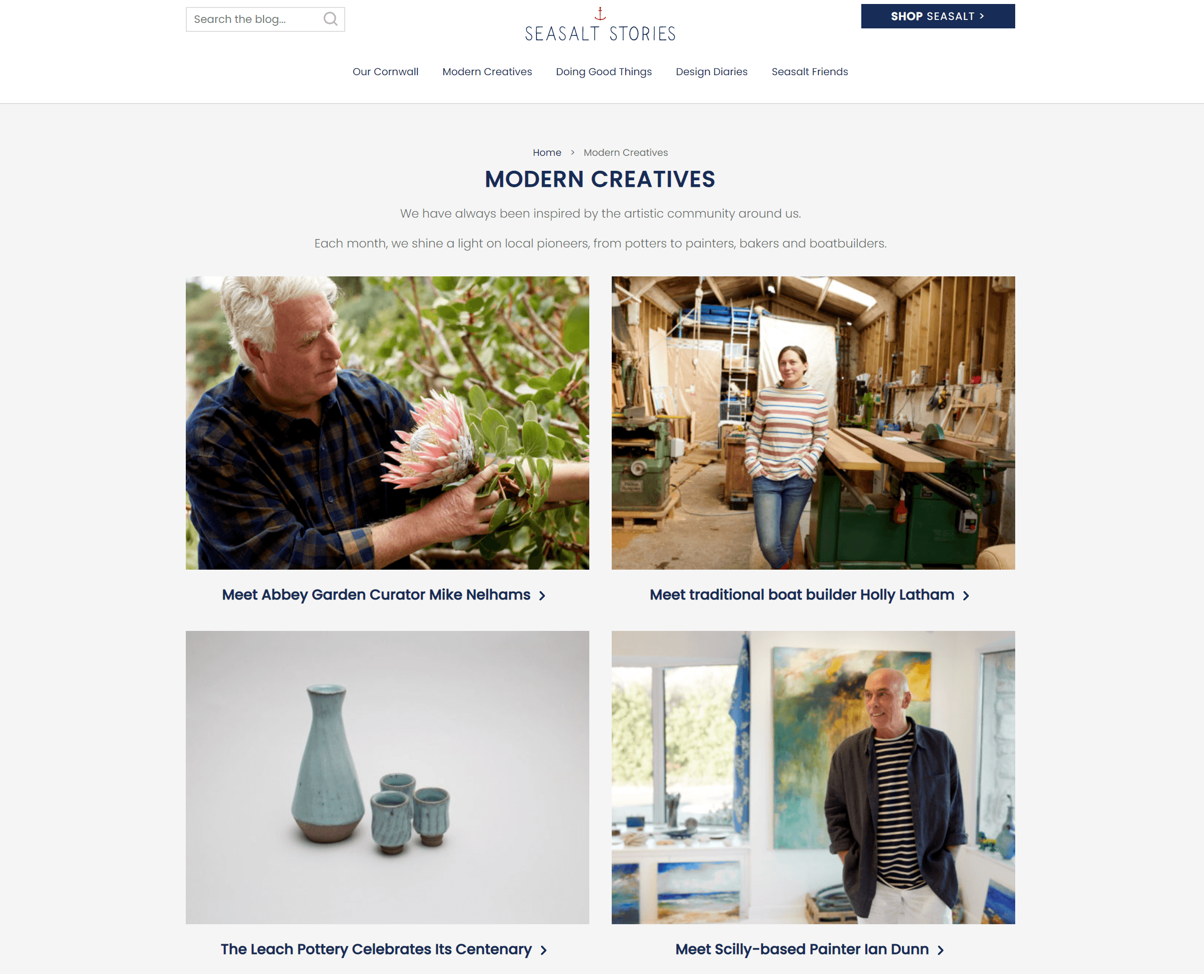 creenshot of the Modern Creatives category page on the Seasalt blog.